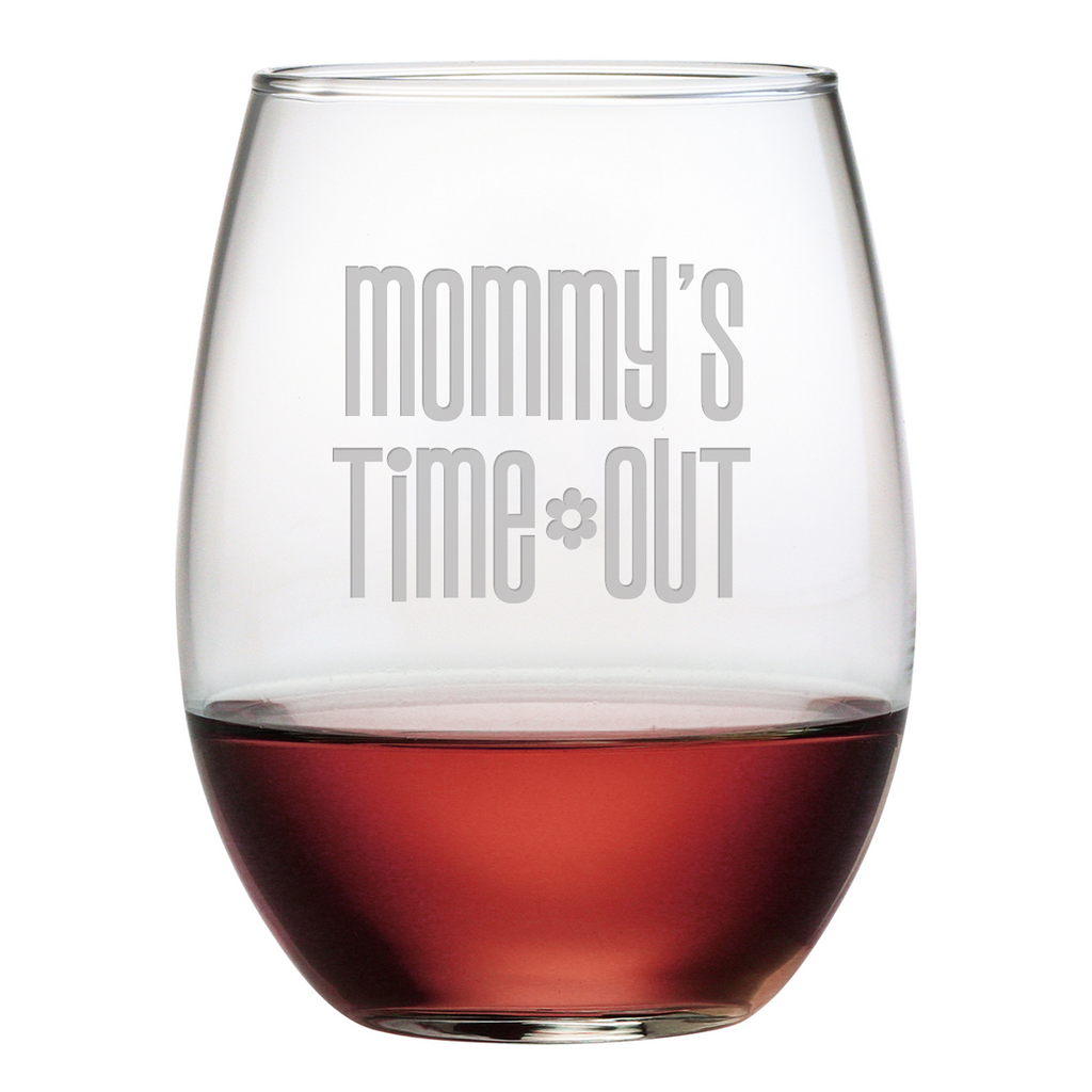 Mommy's Time Out Stemless Wine Glasses - Set of 4