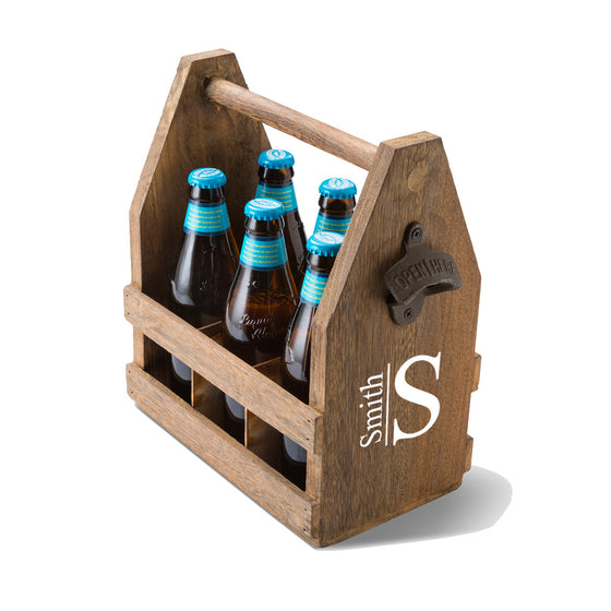 Beer Caddy with Bottle Opener - Monogram Design | Premier Home & Gifts