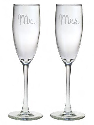 Mr. and Mrs. Champagne Glasses ~ Set of 2