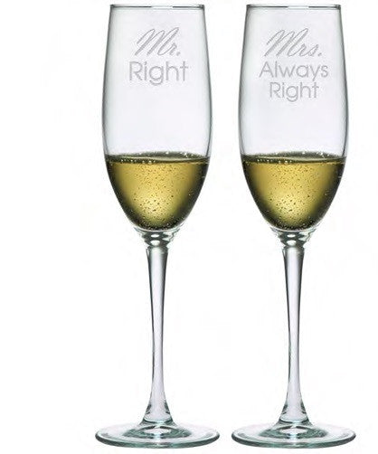 Mr. Right & Mrs. Always Right Champagne Glasses ~ Set of 2