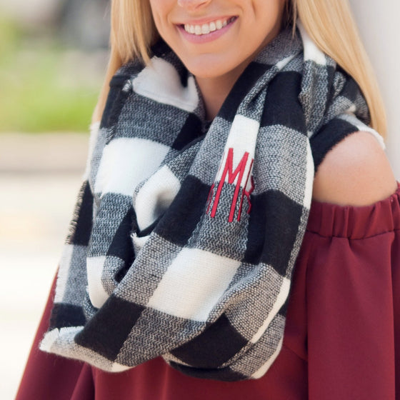 Infinity Scarf Monogrammed - Black and White