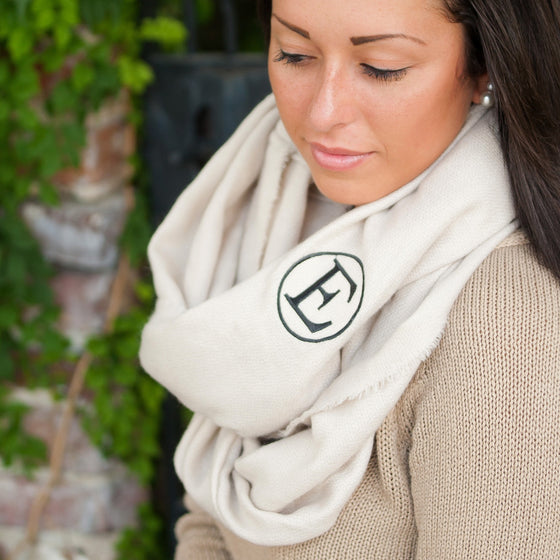 Infinity Scarf Monogrammed - Creme