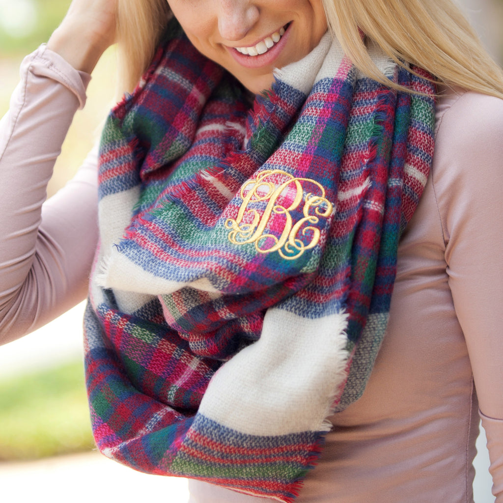 Infinity Scarf Monogrammed - Pink and Green