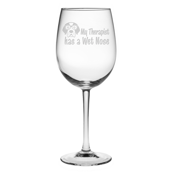 My Therapist Has a Wet Nose Wine Glasses ~ Set of 4 | Premier Home & Gifts