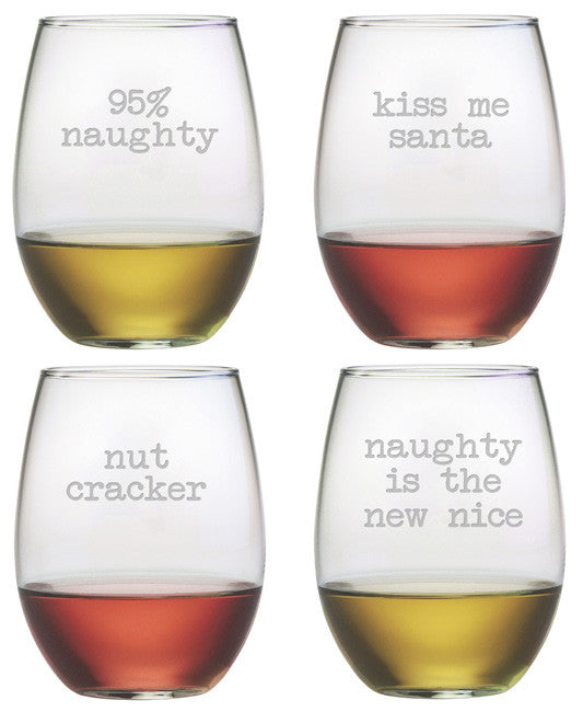 Naughty Christmas ~ Stemless Wine Glasses ~ Set of 4