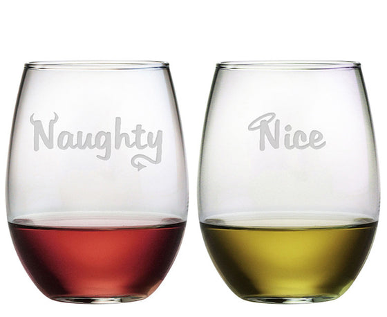 Naughty Nice ~ Stemless Wine Glasses ~ Set of 2