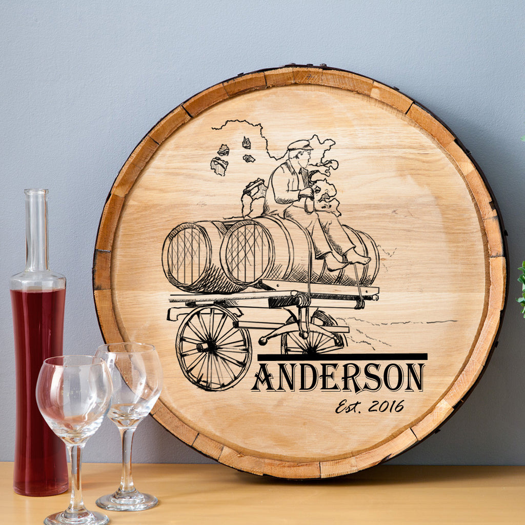 Wine Barrel Wagon Wood Sign - Premier Home & Gifts