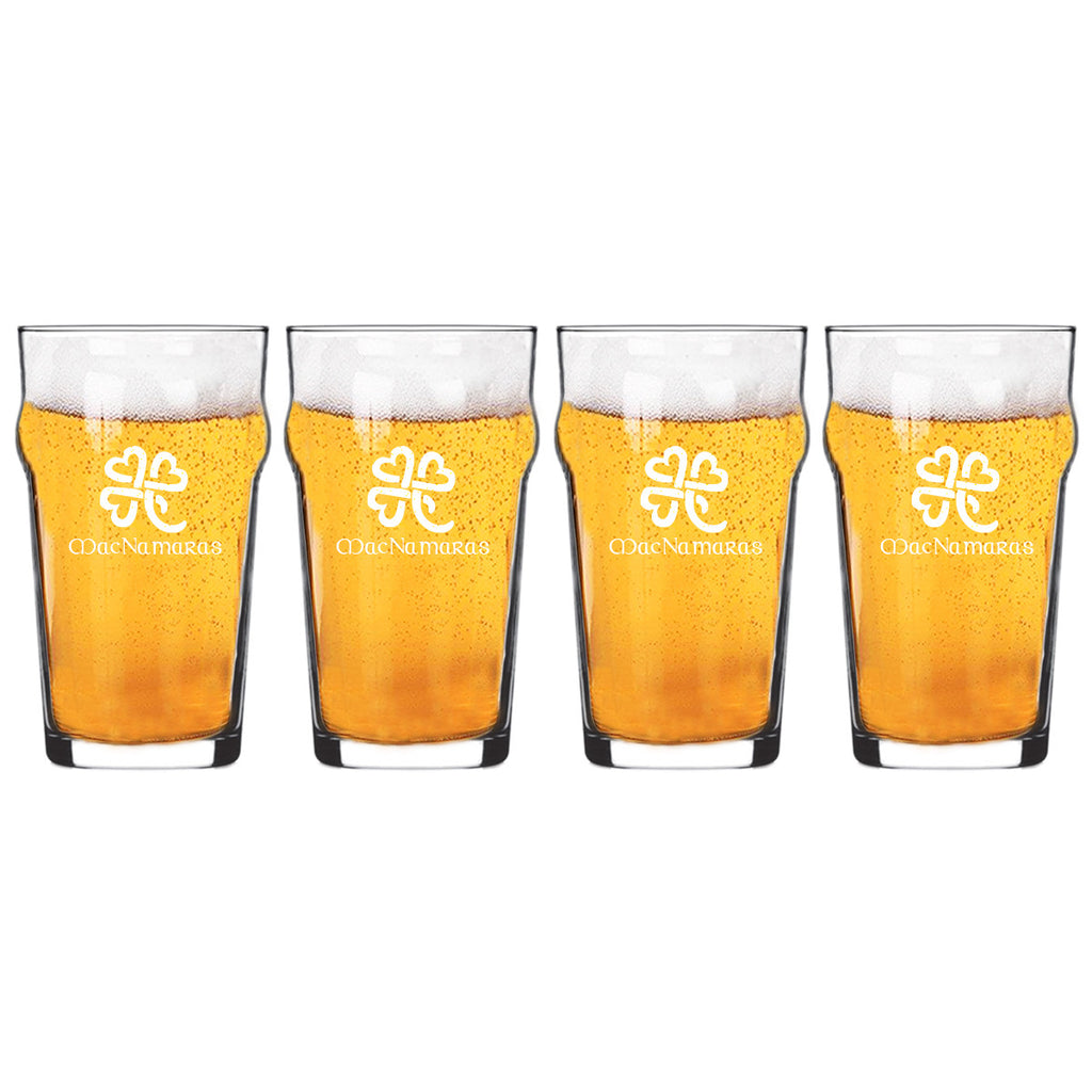 Heart Clover Nonic Beer Glasses ~ Personalized
