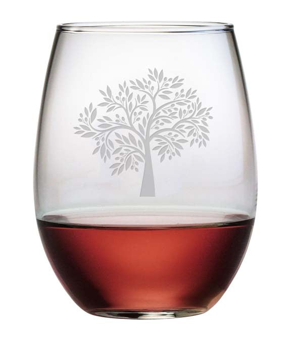 Olive Tree Stemless Wine Glasses