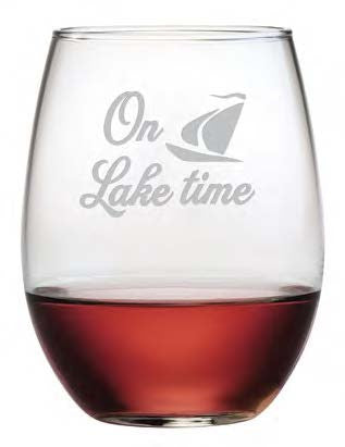 On Lake Time Stemless Wine Glasses ~ Set of 4