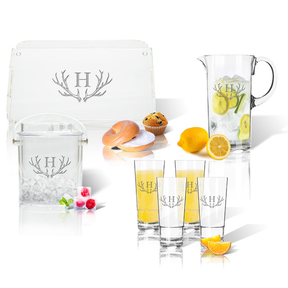 Antler Initial Outdoor Acrylic Entertaining Set - Premier Home & Gifts
