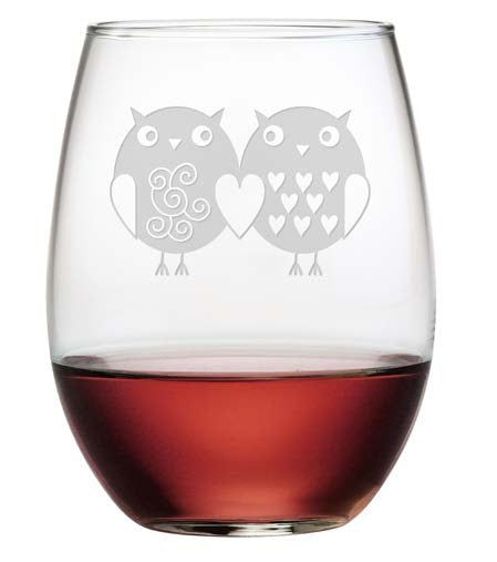 Owl Always Love You Stemless Wine Glasses ~ Set of 4