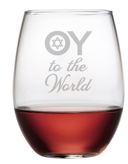 Oy to the World Stemless Wine Glasses ~ Set of 4