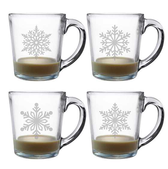 Paper Snowflakes Coffee Mugs ~ Set of 4