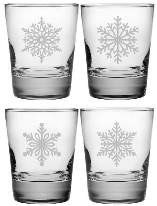 Paper Snowflakes Double Old Fashioned Glasses ~ Set of 4