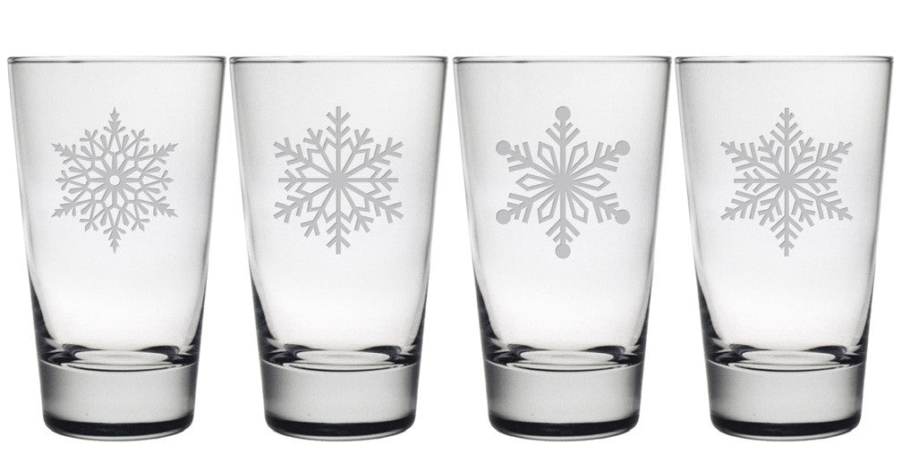Paper Snowflakes Highball Glasses ~ Set of 4