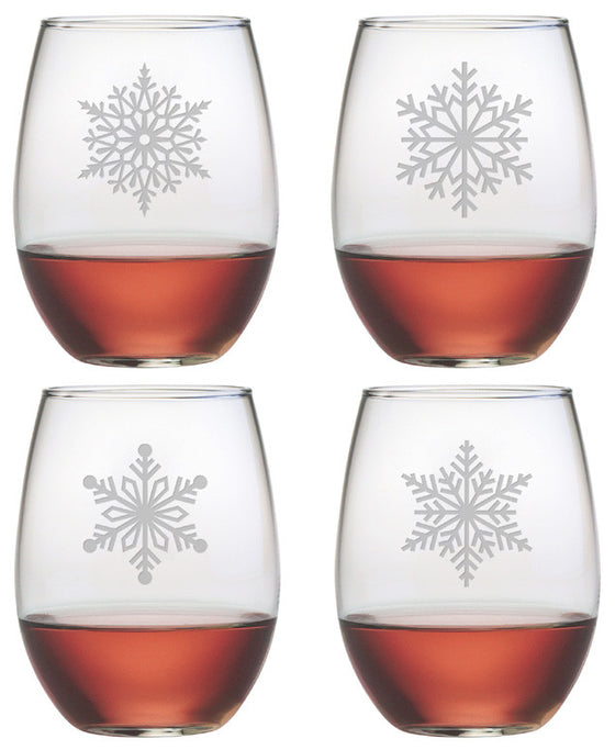 Paper Snowflakes ~ Stemless Wine Glasses ~ Set of 4
