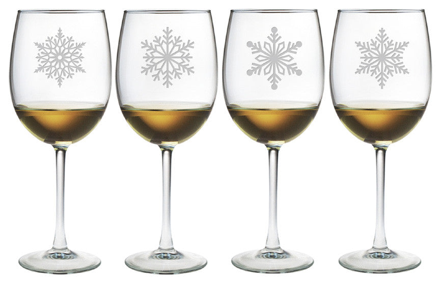 Paper Snowflakes Wine Glasses ~ Set of 4