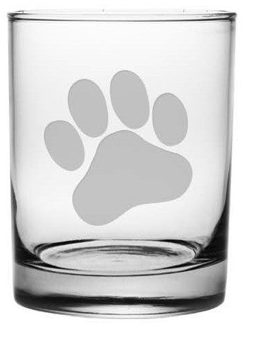 Paw Print Double Old Fashioned Glasses