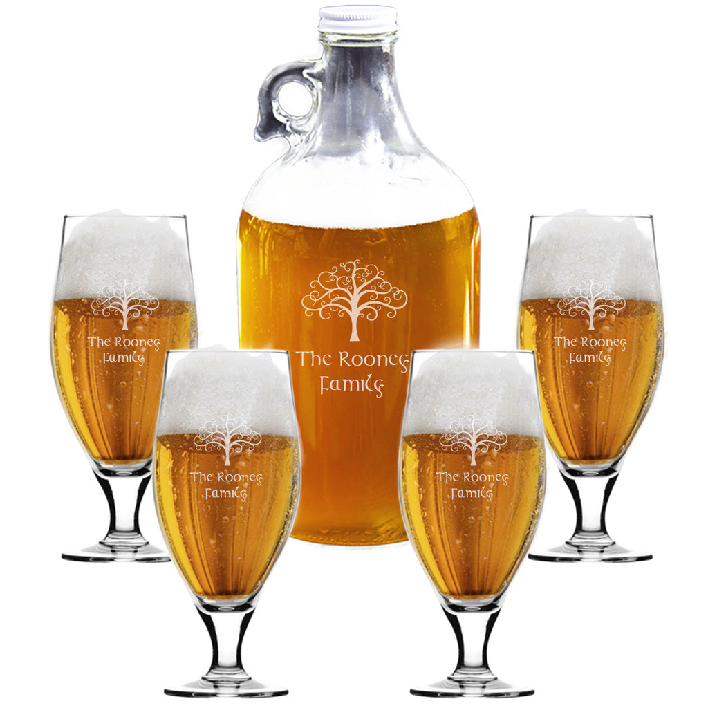 Tree of Life Growler and Cervoise Beer Glass Set ~ Personalized