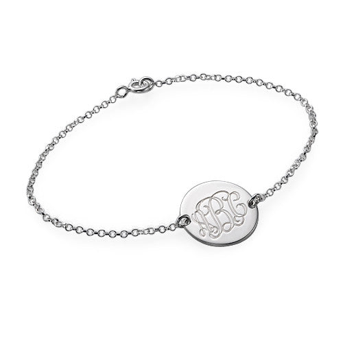 Monogram Disc Sterling Silver Bracelet