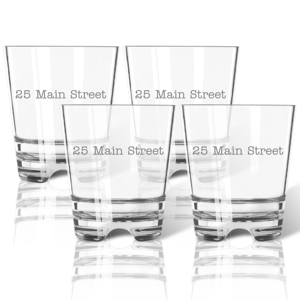 Personalized Address Double Old Fashioned Outdoor Acrylic Glasses