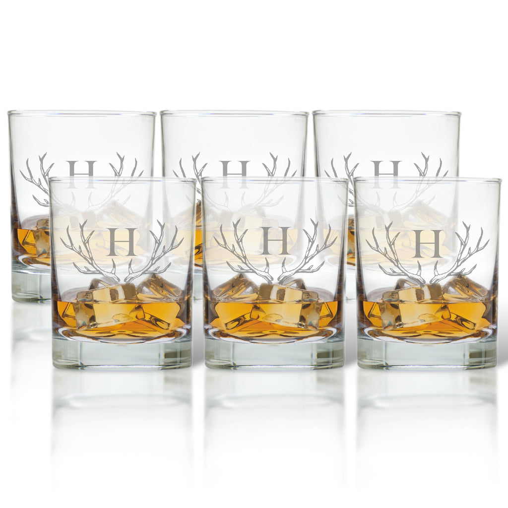 Antler Initial Double Old Fashioned Glasses - Premier Home & Gifts