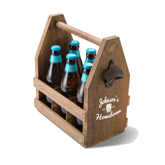 Beer Caddy with Bottle Opener - Personalized | Premier Home & Gifts
