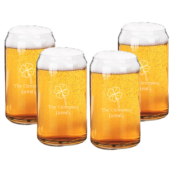 Four Leaf Clover Beer Can Glasses ~ Personalized