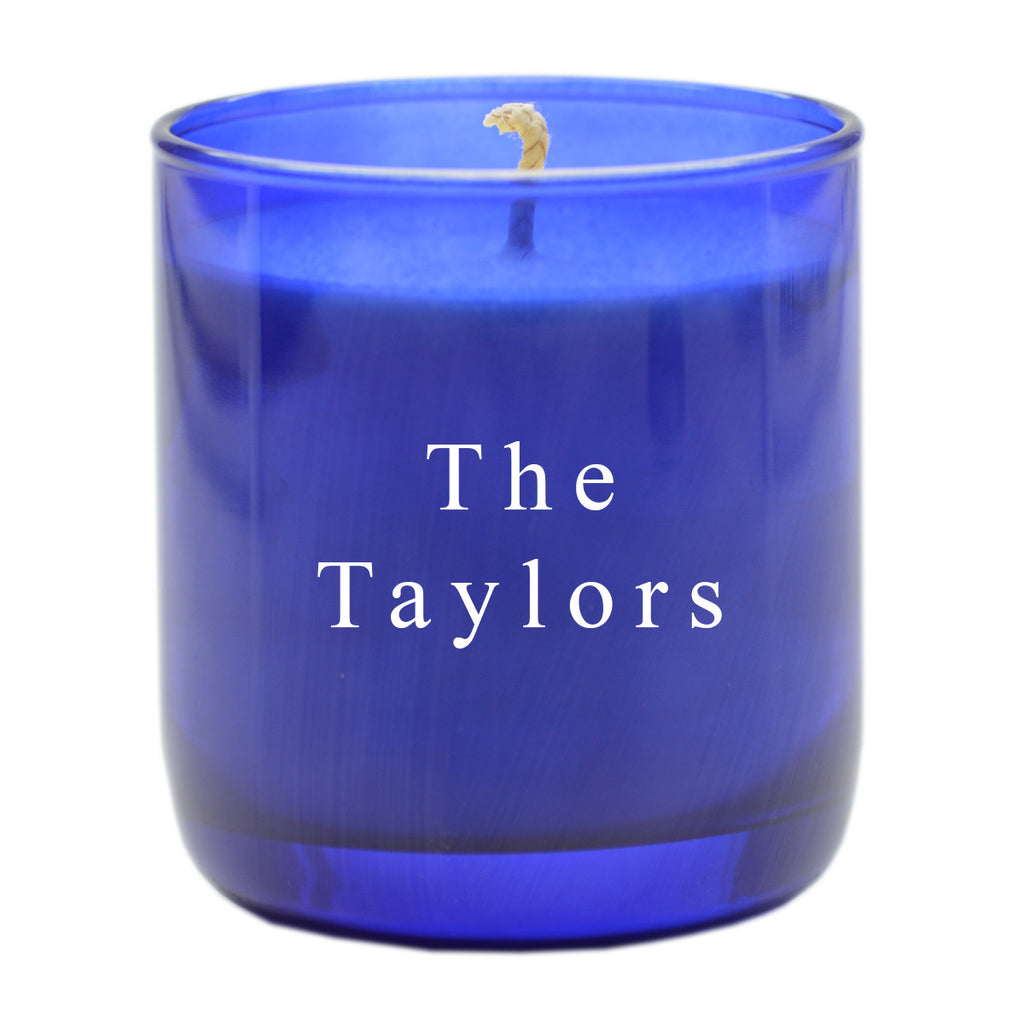 Cobalt Blue Glass Scented Candle - Personalized