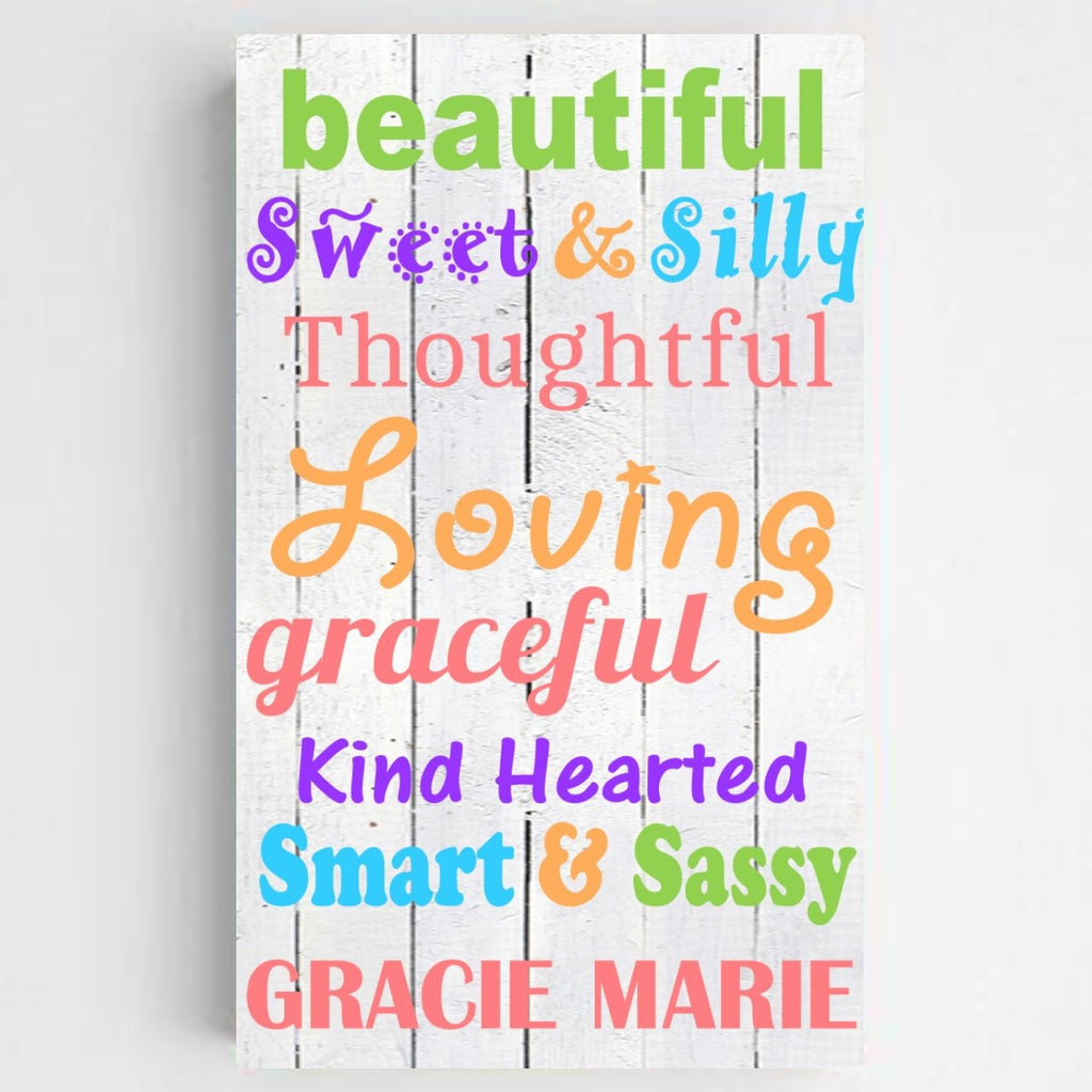 Colorful Canvas Sign - Girl - Personalized