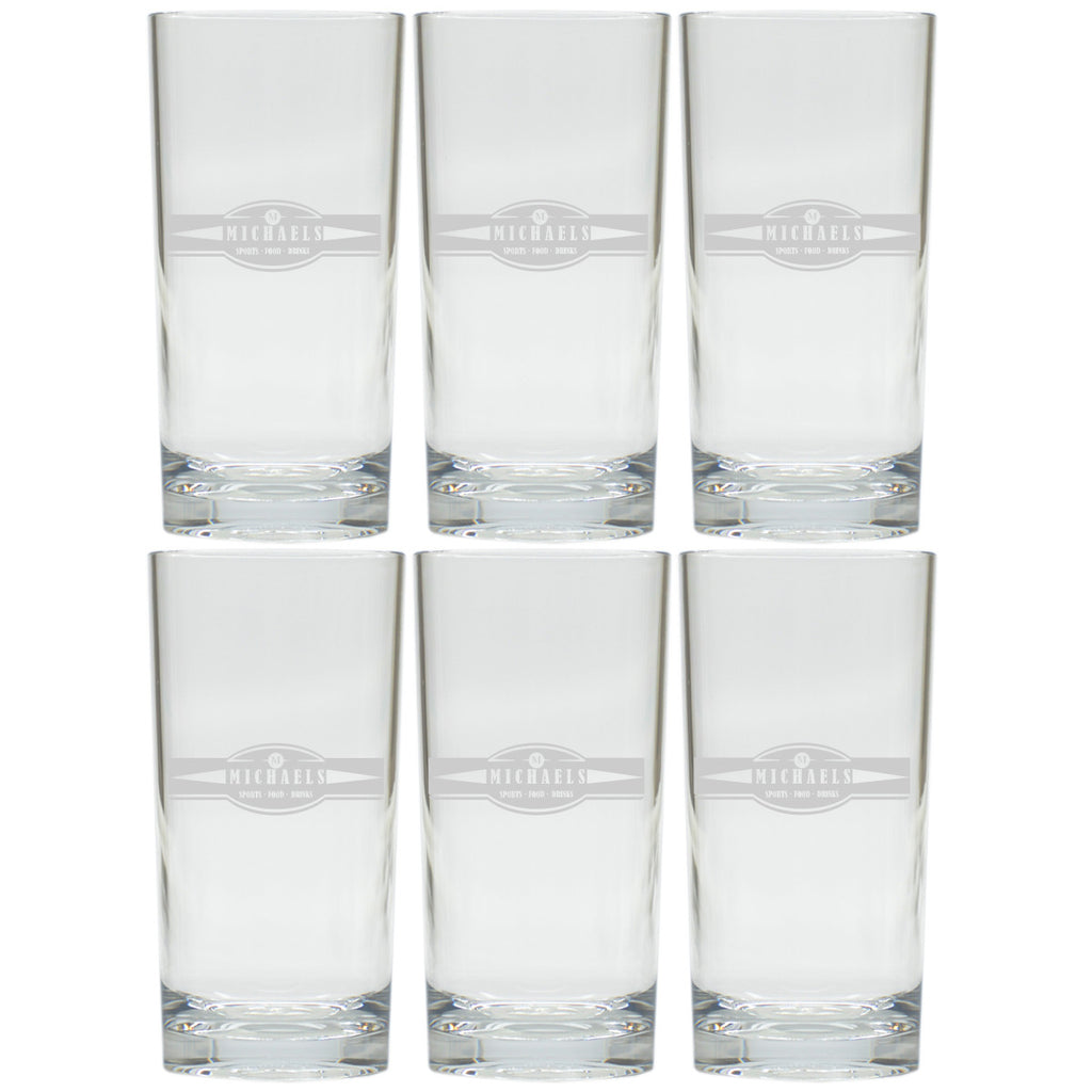 Sports, Food & Drinks Highball Glasses ~ Personalized ~ Set of 6
