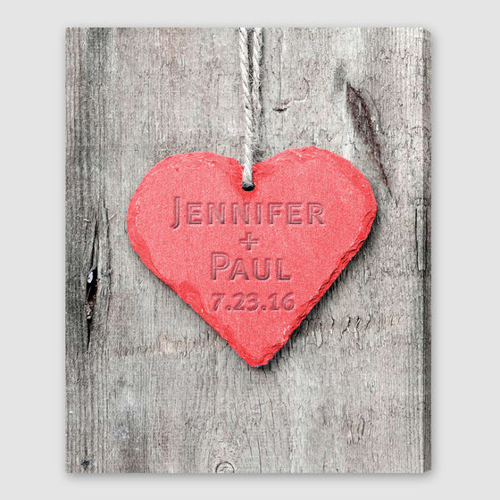 Embossed Heart Personalized Canvas Print