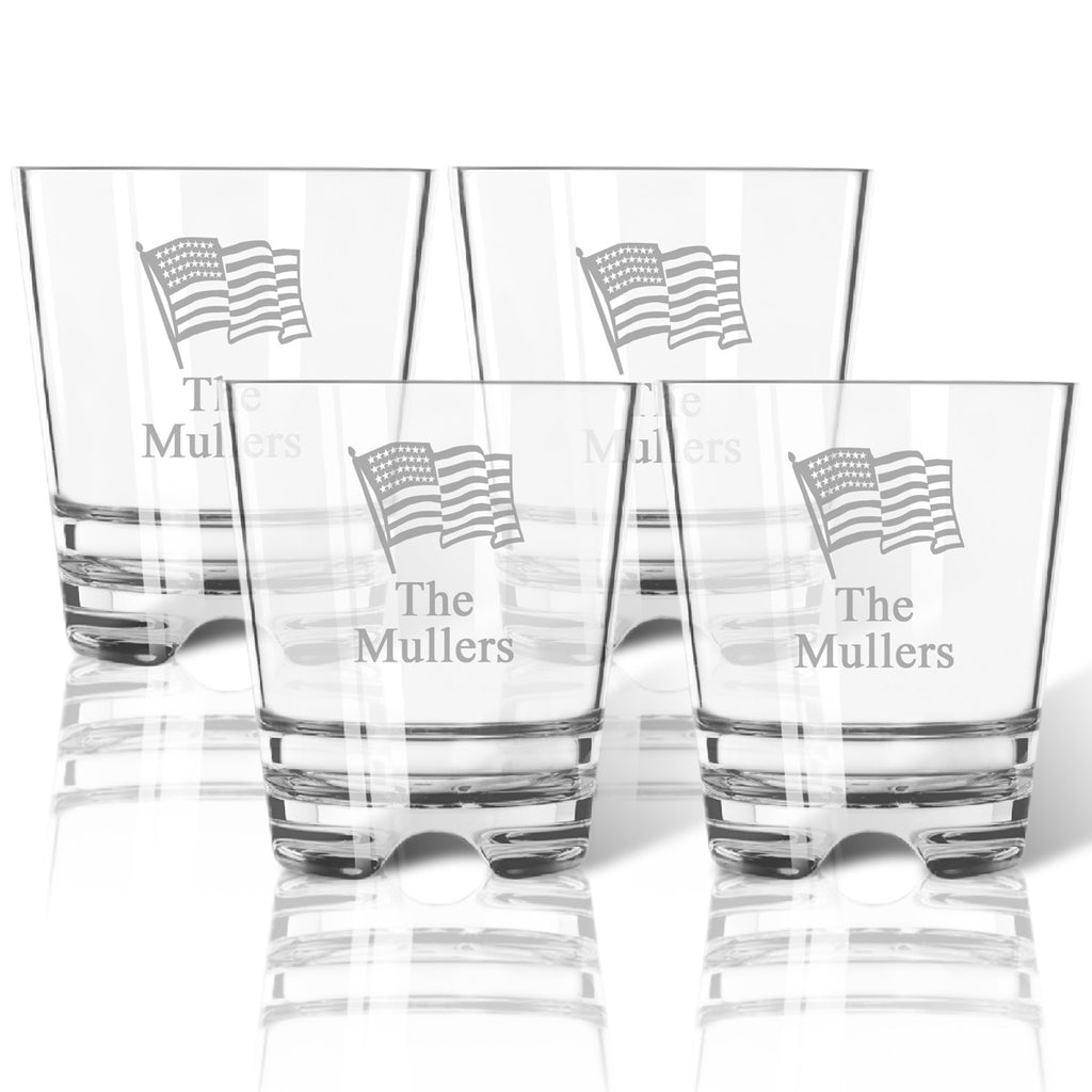 American Flag Double Old Fashioned Outdoor Acrylic Glasses