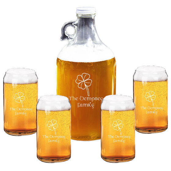 Four Leaf Growler and Beer Can Glass Set ~ Personalized