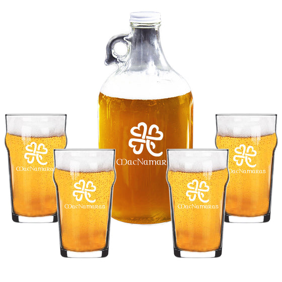 Heart Clover Growler and Nonic Beer Glass Set ~ Personalized