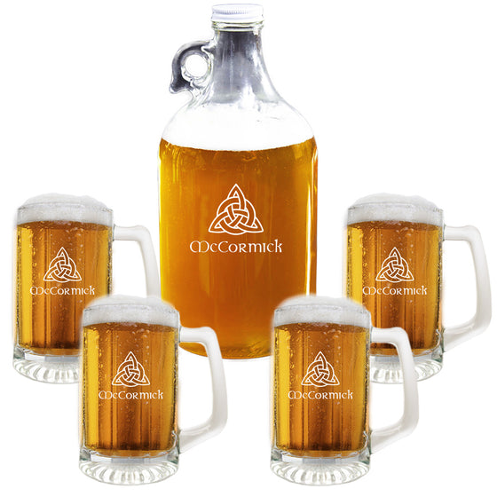 Celtic Knot Growler and Sports Mug Beer Glass Set ~ Personalized