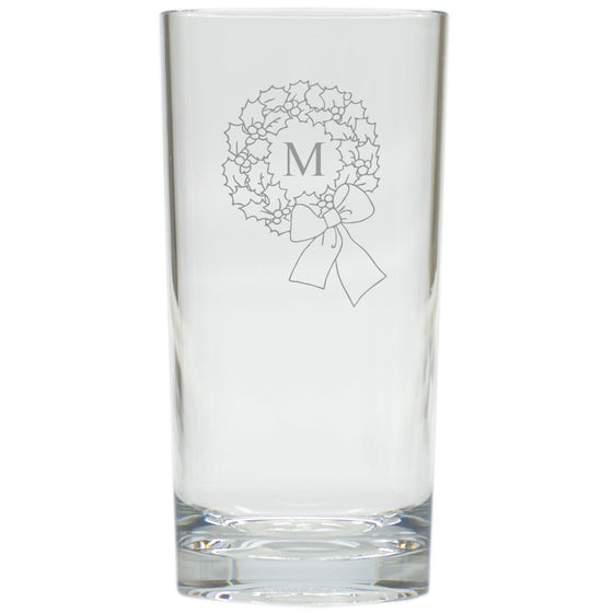 Wreath Highball Glasses - Set of 6 - Personalized