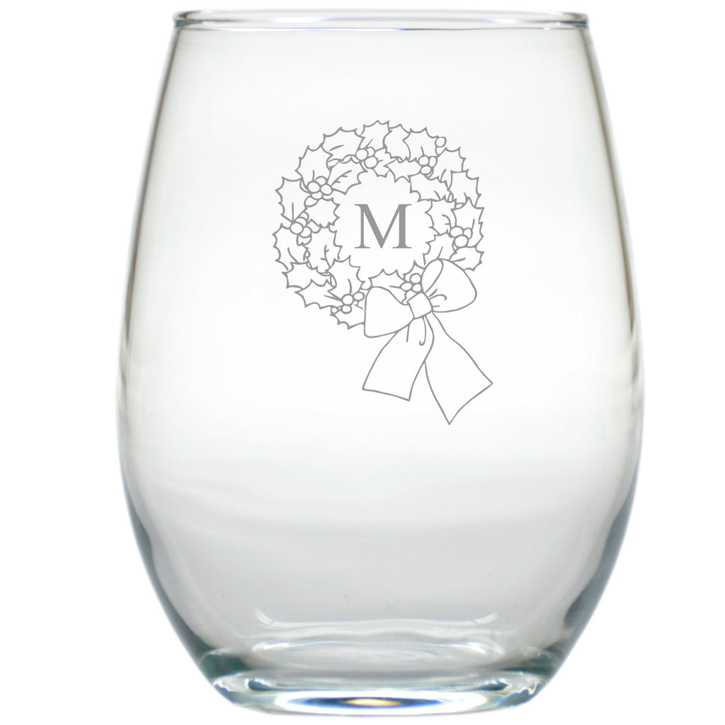 Wreath Stemless Wine Glasses - Set of 4 - Personalized