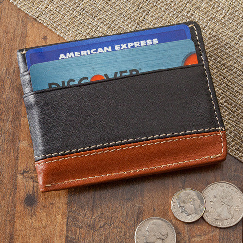 Leather Two-Toned Magnetic Money Clip Wallet ~ Personalized