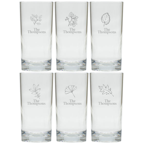 Fall Leaves Highball Glasses ~ Set of 6 ~ Personalized