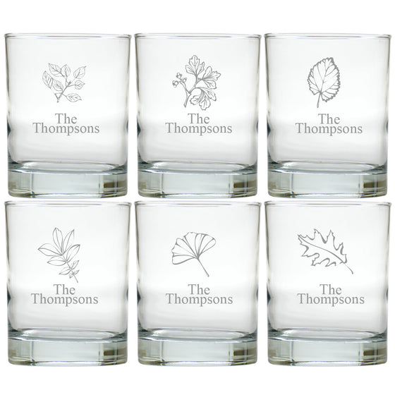 Fall Leaves Double Old Fashioned Glasses ~ Personalized ~ Set of 6