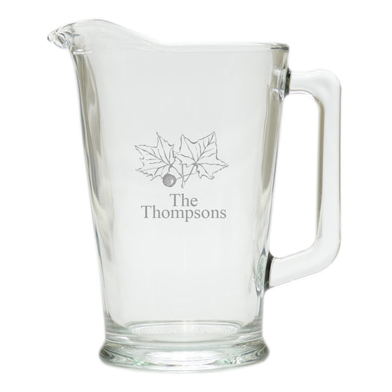 Fall Leaves Glass Pitcher ~ Personalized