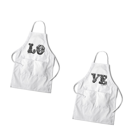 Couples Aprons - Personalized Love