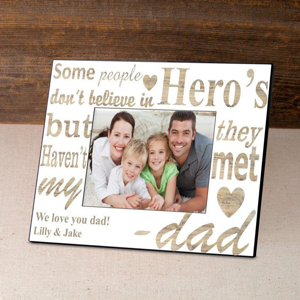 Dad My Hero Picture Frame ~ Personalized