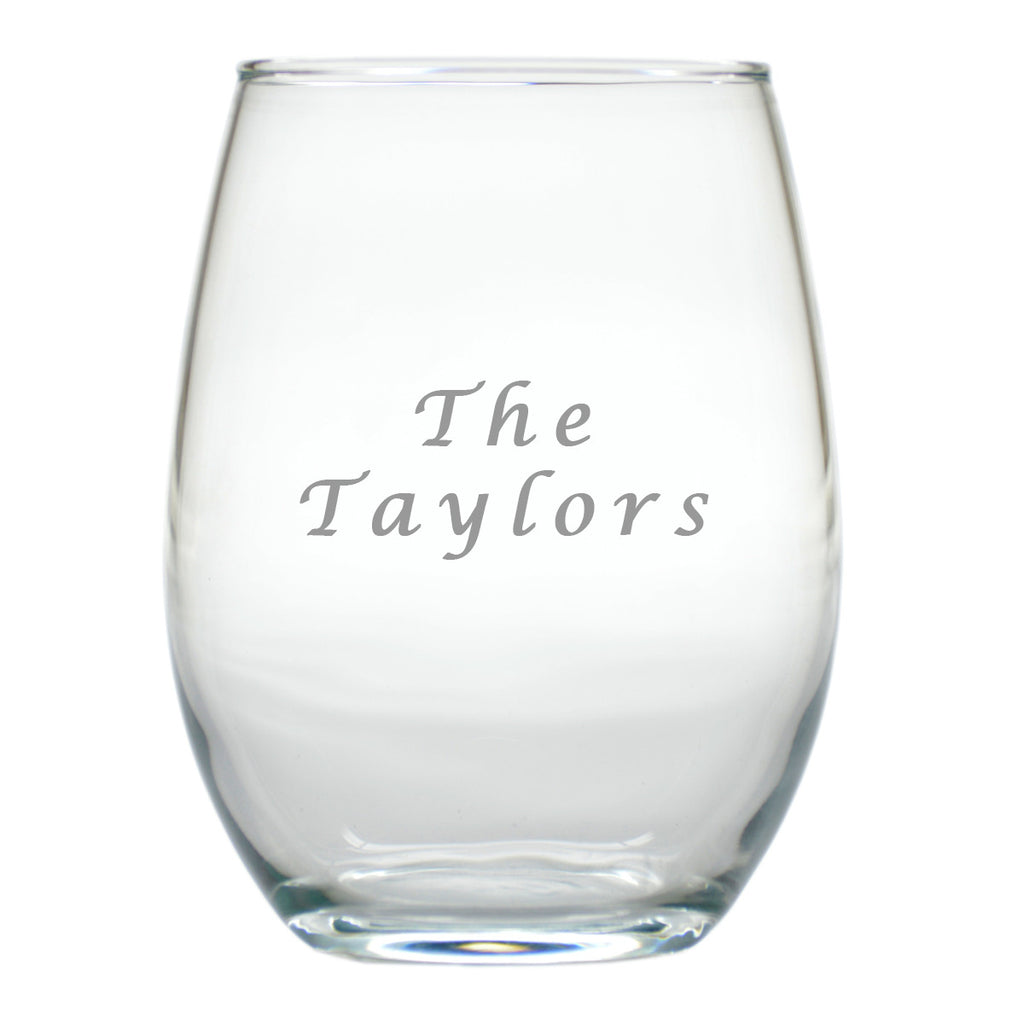 Personalized Name Stemless Wine Glasses ~ Set of 4