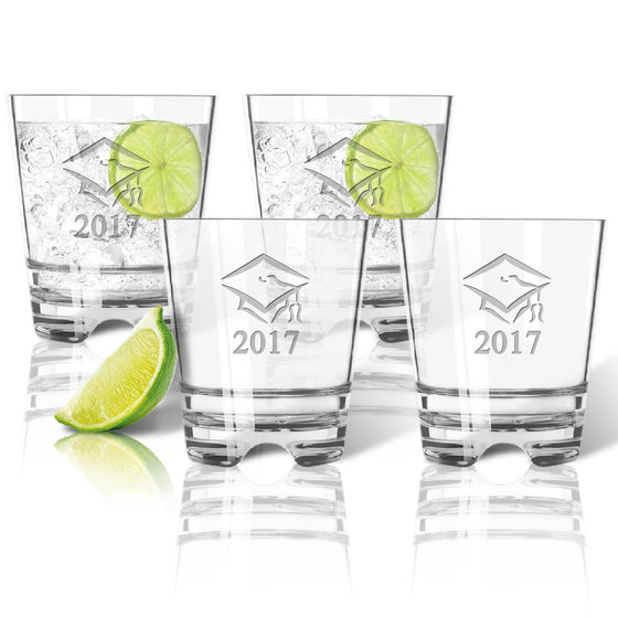 Graduation Cap and Year Double Old Fashioned Outdoor Acrylic Glasses ~ Personalized