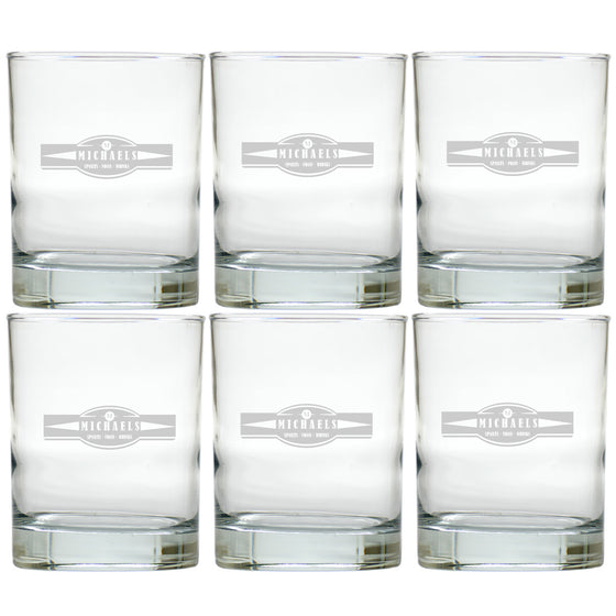 Sports, Food & Drinks Double Old Fashioned Glasses ~ Personalized ~ Set of 6