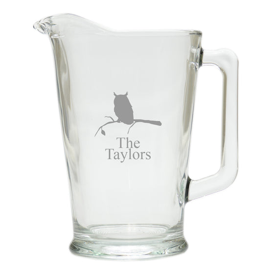 Owl & Branch Glass Pitcher ~ Personalized