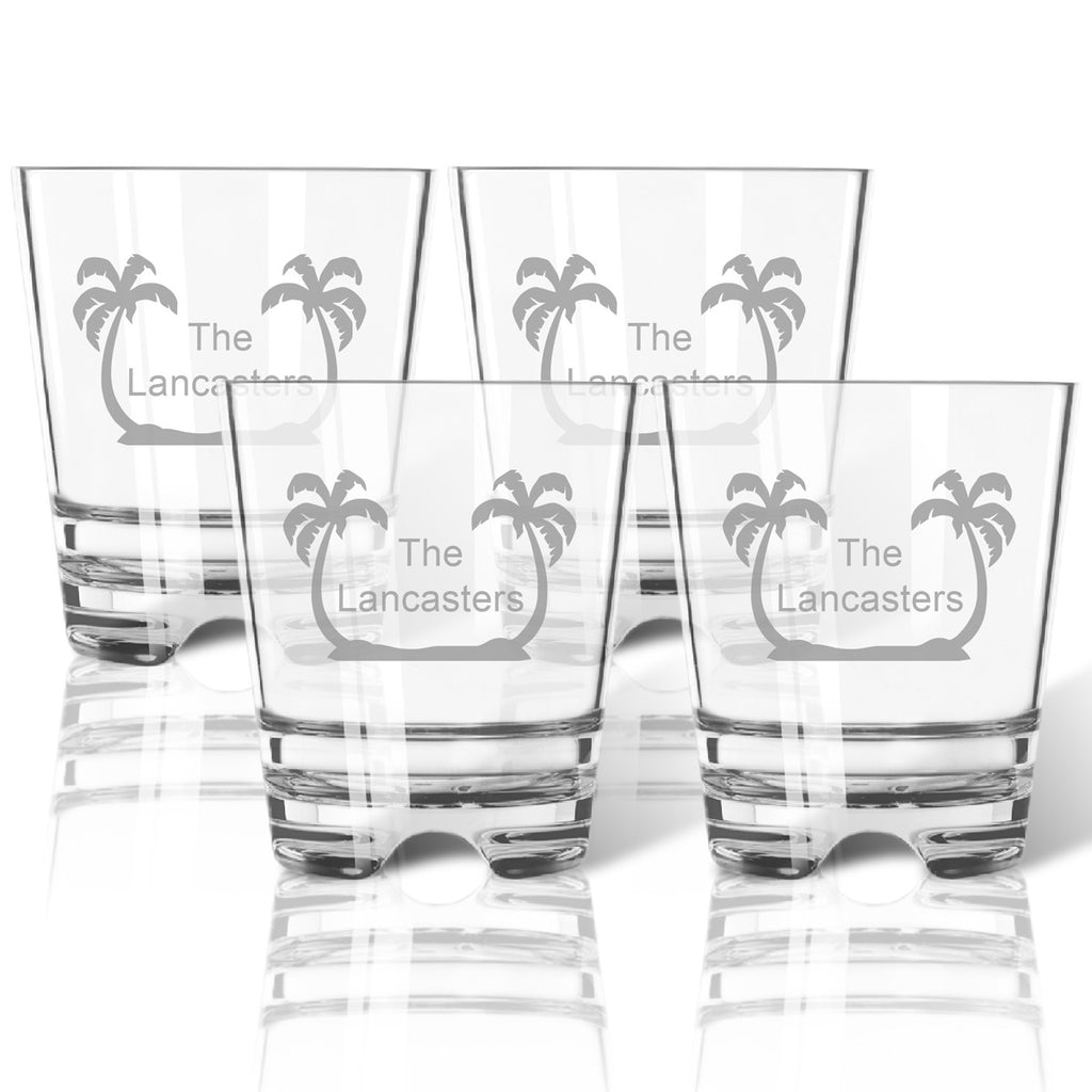 Palm Trees Double Old Fashioned Outdoor Acrylic Glasses